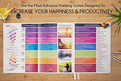 Deluxe Law of Attraction 12 Month Life Planner - B5 Dated September 2019-2020 Planner to Increase Productivity & Happiness - Weekly, Monthly Organizer & Gratitude Journal (Rose Gold) + Stickers