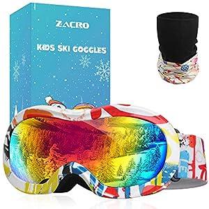 Zacro Lunettes de Ski pour Enfant UV400 et Anti-Brouillard à Double Enduit,Conception OTG, Vrai Revo Lunettes,Convient pour Le Ski, Le Snowboard, la Motoneige, l'escalade sur Glace