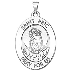 PicturesOnGold.com Saint Eric Oval Religious Medal Available in Solid 10K And14K Yellow or White Gold, or Sterling Silver