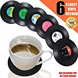 Vinyl Record Coasters Pack, Retro Novelty Style Coaster For Hot Drinks Only, Housewarming Gift For Vintage Collection Fans, Music Theme Party Essential, No Storage Holder but in Matching Packaging Box