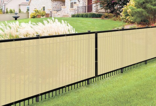 Belle Dura Privacy Screen Fence Shade Fabric Heavy Duty Fence Mesh Tarp 160 GSM Sand 6' x 50' (Privacy Fence Gates)