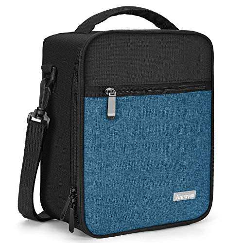 Lunch Bag with Solid Padded Liner,Amersun Spacious Insulated School Lunch Box Durable Thermal Lunch Cooler Pack with Strap for Boys Men Women Girls Adults Sport Picnic Camp Beach,2 Pockets(Black Blue)