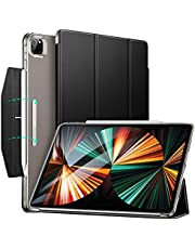 ESR Trifold Case Compatible with iPad Pro 12.9 5G 2021, Translucent Stand Case with Clasp, Auto Sleep and Wake, Pencil 2 Wireless Charging, Ascend Series, Black