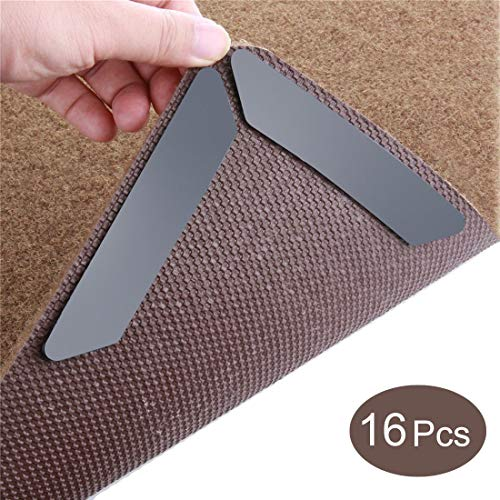 Rug Grippers, Anti Curling Rug Gripper; Keeps Your Rug in Place & Makes Corners Flat. with Renewable & Reusable Non Slip Rug Pads. Ideal Works on Wood and Carpet Floors (16 pcs)