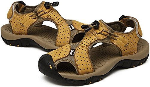 PPXID Mens Outdoor Leather Hiking Sandals Close Toe Beach Athletics Sandal Yellow QwOy2ZsVl