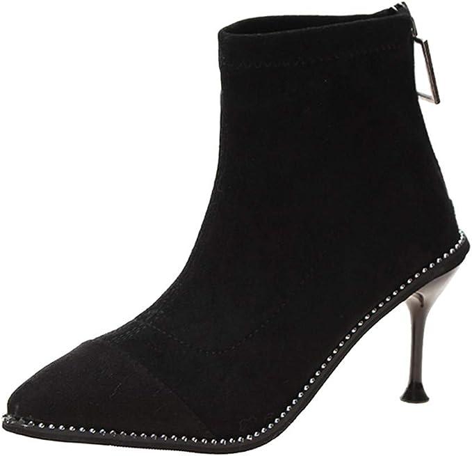 Scarpe Donna Tacco Eleganti Stivali con Cerniera Punta
