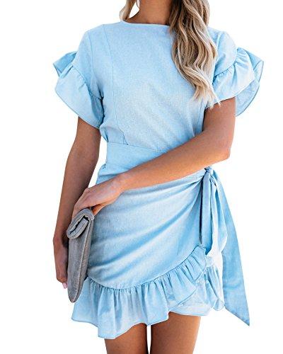 (Youxiua Womens Wrap Ruffle Dresses Short Sleeve Casual Party Empire Waist Belts Mini Dress)