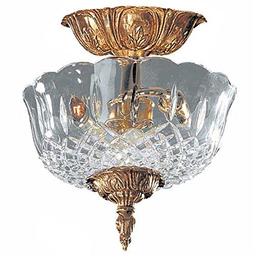 - Olde Brass Two Light 24 Percent Lead Crystal Cast Brass Semi-Flush Mount Ceiling Fixture