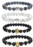 LYLYMIMI Bead Bracelets for Men Elephant Bracelet Owl Lion Leopard Jewelry Set Matte Lava Rock Stone