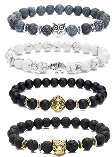LYLYMIMI Bead Bracelets for Men Elephant Bracelet Owl Lion Leopard Jewelry Set Matte Lava Rock Stone 4 Pcs a Set (4 Pcs a (Owl Beads Bracelet)