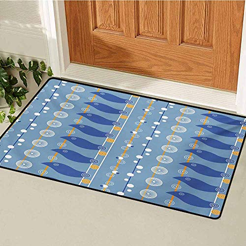 GUUVOR Yellow and Blue Welcome Door mat Abstract Sea Pattern with Spiral Circles Waves Lines Illustration Door mat is odorless and Durable W35.4 x L47.2 Inch Pale Blue Marigold