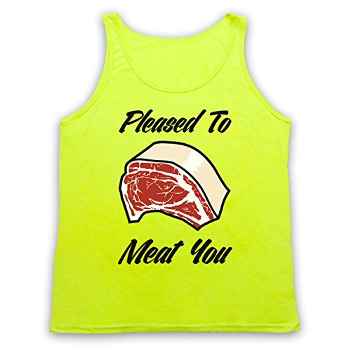 Pleased To Meat You Funny Slogan Tank-Top Weste, Neon Gelb, XL