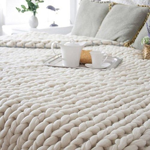Price comparison product image Lanhui_100X80cm Hand Chunky Knitted Blanket Thick Wool Bulky Knitting Throw For Sunny Kids Mom (Beige)