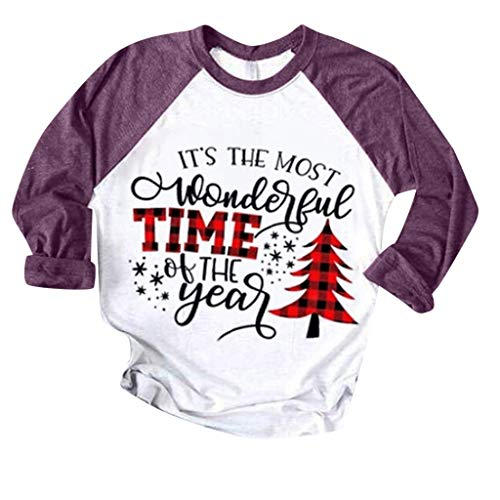 ITLOTL Christmas Women Color Patchwork Print Tops Hooded Pullover Blouse T-Shirts