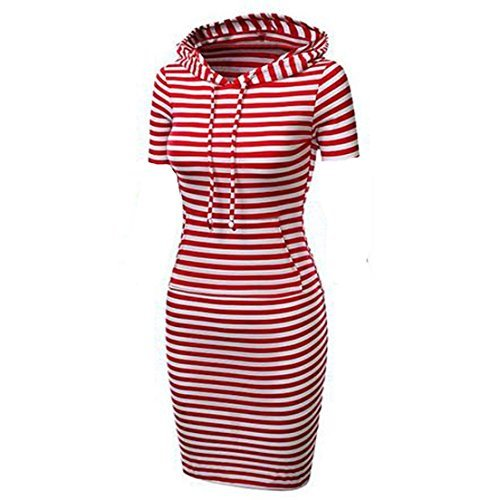 Fashion Women's Casual Midi Pullover Sweater Hooded Short Sleeve Slim Dress (XX-Large, Red Striped) ()