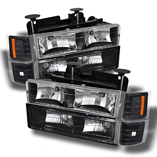 C10 C/K Pickup Black Headlights + Corner + Bumper Signal Light Lamps Replacement Completed Set