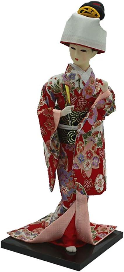 orientalische Kokeshi Geisha Puppe Modell Kunsthandwerk Baoblaze 12 Zoll Vintage japanische Kimono Puppe mit F/ächer Gr/ün