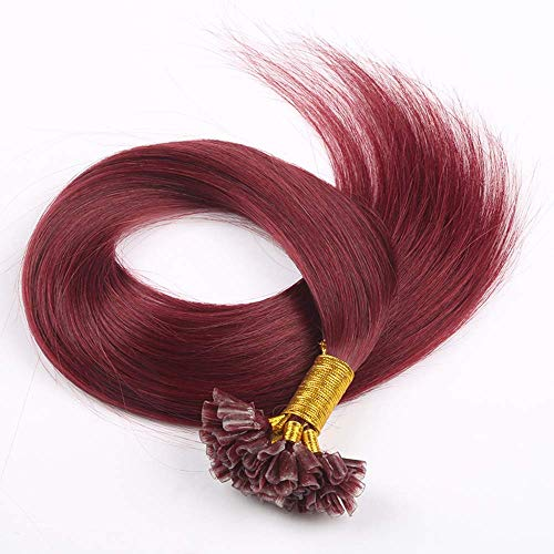 U-Tip 100% Human Hair Red Wine Tape in Hair Extensions Brazilian Virgin Human Hair Soft Natural Burg Straight Hair Mix Color 40g 50 Strands/Pack 22inch