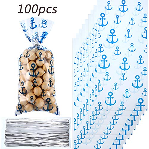 100 Pieces Nautical Anchors Party Bags Nautical Candy Cellophane Bags Heat Sealable Treat Bags with 100 Pieces Gift Twist Ties for Nautical Beach Decoration Themed Party -