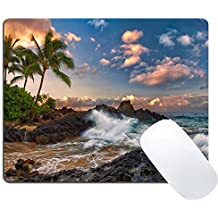 Wknoon Gaming Mouse Pad Custom Design, Tropical Landscape Ocean Palm Coast Rock, Non-slip Thick Rubber Large Mousepad Mat