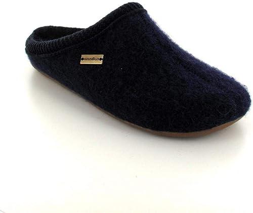 Dark Blue HAFLINGER Boiled Wool Slippers Pocahontas