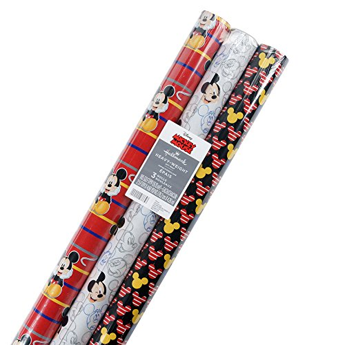 Hallmark Disney Mickey Mouse Wrapping Paper with Cut Lines (Pack of 3, 105 sq. ft. ttl.)]()
