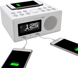 HANNLOMAX HX-202Qi Alarm Clock Radio, Wireless Qi Certified Charging, Bluetooth, 10W Output Power, Dual USB Ports for Charging and MP3 Playback, Temperature, Nightlight, Time Zone, Aux-in (White)