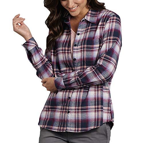Down Dickies Shirt Button Denim (Dickies Women's Long-Sleeve Plaid Flannel Shirt, Dark Denim/Faded Rose/Phlox, S)