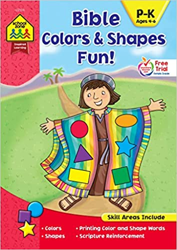 a7371786 SCHOOL ZONE - Bible Colors and Shapes Fun! Workbook, Preschool thru  Kindergarten, Ages 4 to 6, Colors, Shapes, Printing Words, Scripture ...  and More!