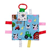 Baby Sensory Crinkle & Teething Square Lovey Toy with Closed Ribbon Tags for Increased Stimulation: 8 X8  (Farm Friends)