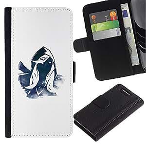 WINCASE ( No Para Xperia Z1 ) Cuadro Funda Voltear Cuero Ranura Tarjetas TPU Carcasas Protectora Cover Case Para Sony Xperia Z1 Compact D5503 - misterioso héroe azul carácter capucha blanca