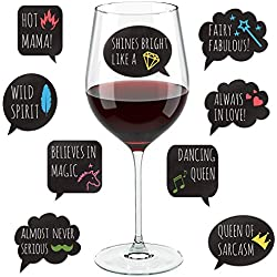 Lulu & You Funny Wine Glass Drink Markers - 18 Static Clings Reusable Stickers - For Wine Tasting Party, Wine Gift and Favors