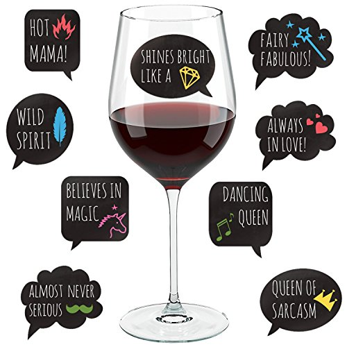 (Funny Wine Glass Drink Markers - 18 Static Clings Reusable Stickers - For Wine Tasting Party, Wine Gift and Favors)