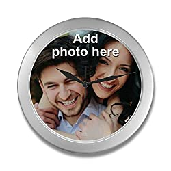 NICTIMEID Custom Photo Wall Clock - Personalized Family Clock with Pictures or Name for Adult or Kids Gift (9.65 inch)