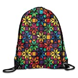 FYW Geometric Church Window Glass Inspired Rainbow Colored Image With Flowers Like Artwork Drawstring Bags School Gym Backpack