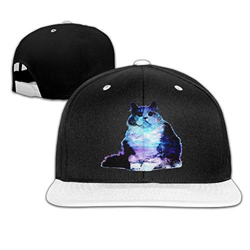 ZOENA Starry Night Sky Cat Hip-Hop Cotton Hats Walk Caps White (Toboggan Patriots)
