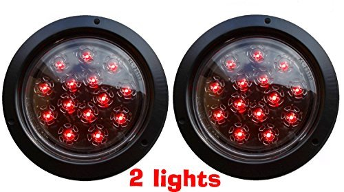2- AutoSmart Flush Mount ROUND LED STOP TURN TAIL LIGHTS FOR TRUCK TRAILER red