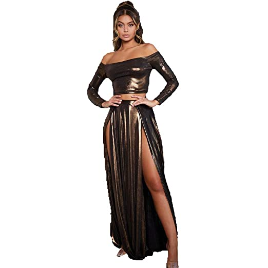 CAGYMJ Dress Party Mujer Vestido,Sexy Colorido Láser Split Falda ...