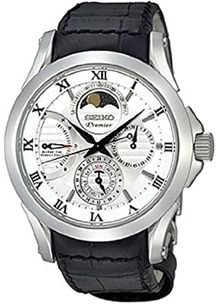 amazon com seiko srx003 mens premier kinetic direct drive seiko srx003 mens premier kinetic direct drive moonphase white dial black leather watch