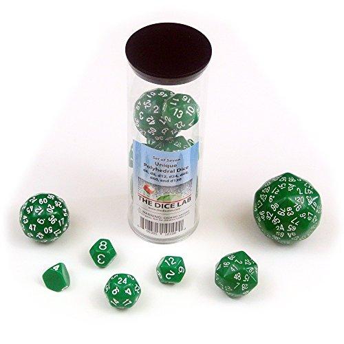 (Set of Unique Dice: d4, d8, d12, d24, d48, d60, and d120 in Green)