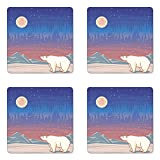 Lunarable Polar Bear Coaster Set of Four, Cartoon Arctic Region Animal Looking at The Aurora Borealis in a Starry Night, Square Hardboard Gloss Coasters for Drinks, Multicolor