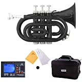 Mendini MPT-BK Lacquer Brass Bb Pocket Trumpet, Black