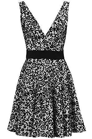 5b0119882585 Ladies Floral Flock Low Back V Neck Flare Glitter Women's Party Skater Dress  [Black/White - UK 12]: Amazon.co.uk: Clothing