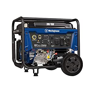 Westinghouse WGen7500 Portable Generator with Remote Electric Start - 7500 Rated Watts & 9500 Peak Watts - Gas Powered - CARB Compliant - Transfer Switch Ready