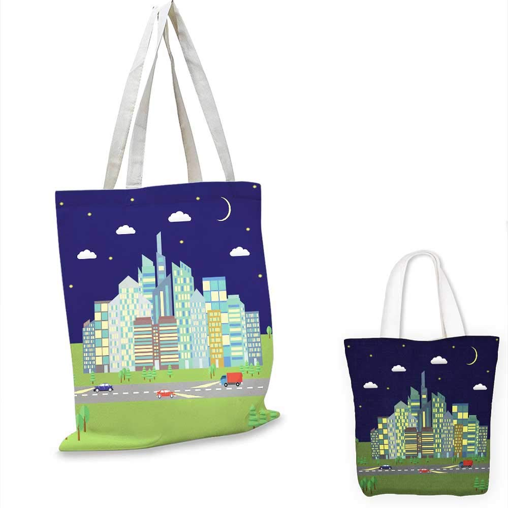 City at night horizontal banners canvas messenger bag canvas beach bag 14x16-11inch