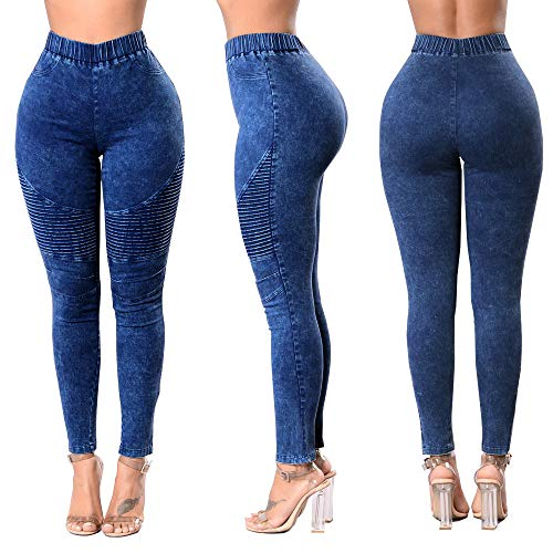Womens Denim Stretch Skinny Jeans high Waisted Plus Pull-on Biker Ankle Pencil Size Pants Leggings
