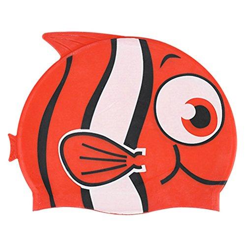 Bonnet de Bain Piscine Natation Cagoule Nautique en Silicone Animal en forme de poisson pour Enfants