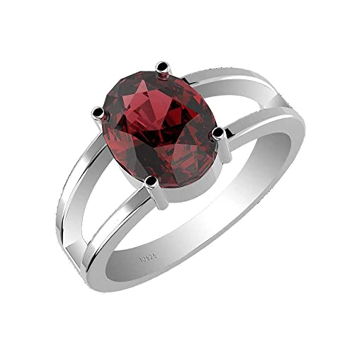 Natural Garnet Silver Ring, Garnet Solitaire Split Band 925 Sterling Silver Ring