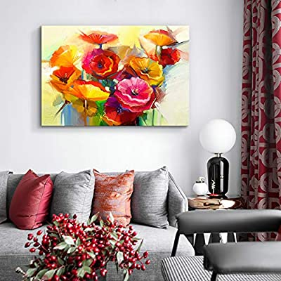 Canvas Wall Art Beautiful Flowers Red Yellow Pink Painting Artwork for Home Decor Framed - 32x48 inches