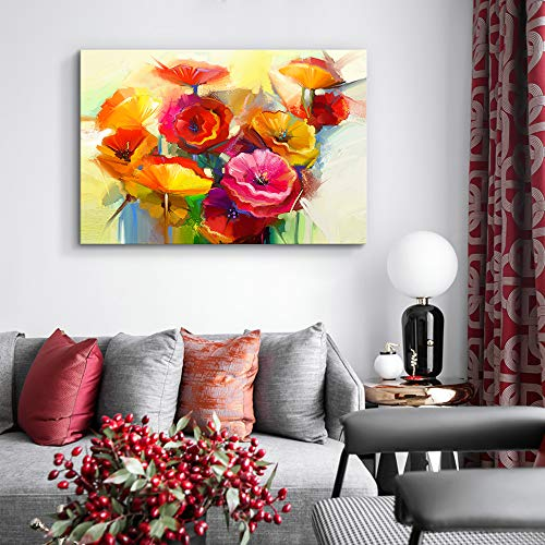 Beautiful Flowers Red Yellow Pink Painting Artwork for Framed